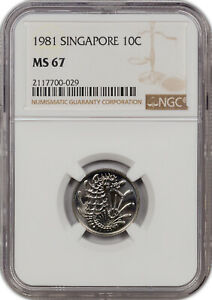 1981 SINGAPORE 10C ONLY 4 GRADED HIGHER!