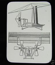 Glass Magic Lantern Slide MAXIMS FLYING MACHINE 1889 C1900 EARLY AVIATION