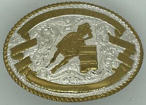 VINTAGE Crumrine Belt Buckle Barrel Racer Horse Rider Western Cowboy Cowgirl