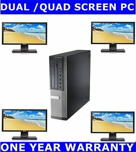 """DELL i7  2nd Gen COMPUTER PC QUAD SCREEN 2TB 16GB RAM COMES WITH 4 X 22"""" MONITOR"""