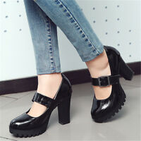 Womens Block High Heels Mary Jane Faux Leather Buckle Pumps Platform Party Shoes