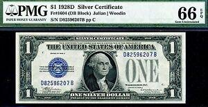 FR-1604 1928-D $1 Silver Certificate PMG Gem-Uncirculated 66EPQ # D82596207B.