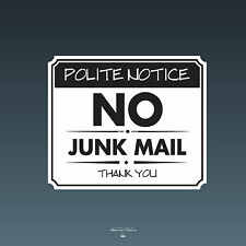 SKU083 - No Junk Mail Front Door Sign Sticker - 140mm x 118mm