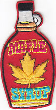 """MAPLE SYRUP"" BOTTLE PATCH - Iron On Embroidered Applique /Food, Topping, Treat"