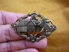 (b-dog-202) Scottish terrier with dog house brass pin pendant I love my Scottie