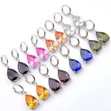 8 Pcs 1 Lot Water Drop Rainbow Topaz Peridot Morganite Silver Danlge Earrings