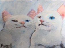 aceo original painted  KITTEN  gattino Gatti Bianchi di Cat dipinto acrilyc