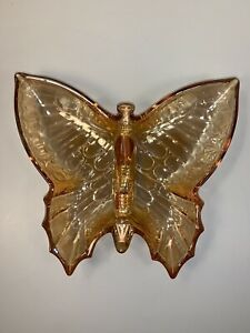 Butterfly Carnival Iridescent Amber Glass Candy Nut Trinket Dish Vintage