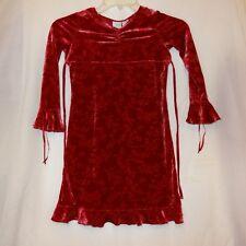 Dress Velvet Red Floral Size 6 6X Long Sleeves Little Girls Ribbon