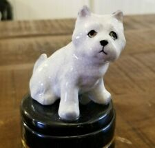 Vtg Takahashi Mcm Westie West Highland White Terrier Dog Trinket Box Figurine