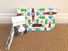 Bungalow360 Canvas Bunny Wallet/Clutch Magnetic Closure Zipper Wristlet Strap GH