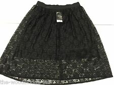 BNWT NEXT SIZE 10 BLACK LADIES LINED FLORAL LACE SKIRT (RRP £40) 3H