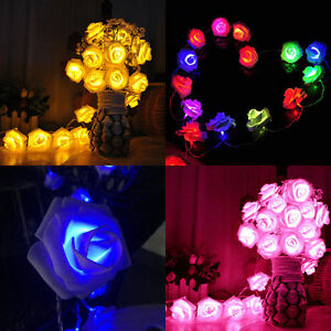 20 LED Rose Flower Wedding Garden Party Christmas Decor Xmas String Fairy Lights