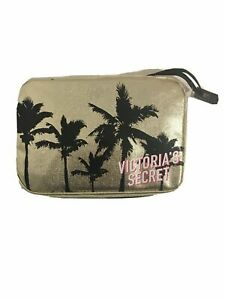 Victoria's Secret Gold Tropical Print Jetsetter Travel Case Cosmetic Bag New