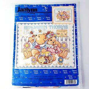 Vintage Janlynn 1996 Birth Announcement Counted Cross Stitch Kit HONEY BEARS