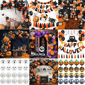 Halloween Balloons Garland Arch kit Confetti Black Spider BatPumpkin Party decor