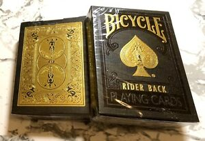 BICYCLE GOLD On black (Gold Foil box) -RARE- Rider Back Playing Cards MetalLuxe