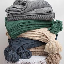Soft Pure Color Pom Pom Throw Home Decorative Office Sofa Bed Blanket 130*160CM