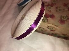 """Large Spool of Antique Vintage Wine Picot Ribbon Trim 5/8""""w Old Stock"""