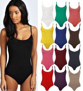 Womens Ladies Stretch Strappy Sleeveless Camisole Vest Bodysuit Leotard Top 4000