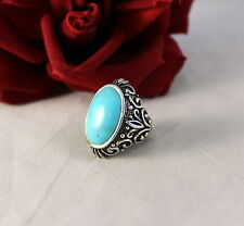 Sterling Silver & Turquoise Barse  12.74g   Ring Size  6 CAT RESCUE