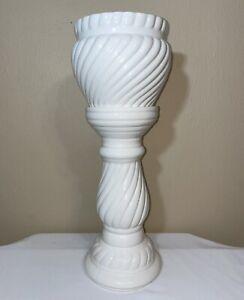 "Vintage 21"" White Swirl Ribbed Art Pottery Jardiniere Pedestal Vase Plant Stand"
