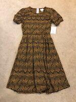 Lularoe womens dress NWT size Small Black & Copper/Mustard Print Amelia Pockets
