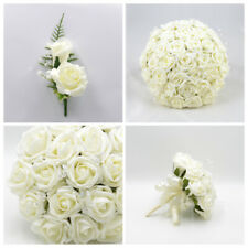 Artificial Wedding Flowers Ivory Foam Rose Bouquet Posy Table Decoration Package