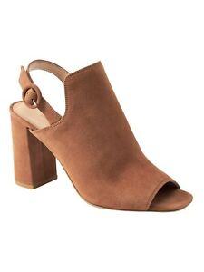 NIB Banana Republic Women's Size 7 Suede Peep Toe Bootie Tan Camel Leather
