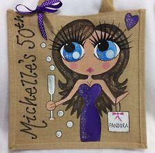 Personalised Handpainted Jute Curvy Girl Celebration Birthday Hand Bag Gift