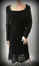 Stunning UK size 20 ALEXON Polyester & lined black tiered lace shift dress.