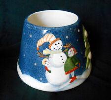 Home Interiors Medium Candle Jar Topper Shade Snowman & Sparkle