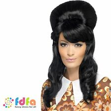1960s noir long ondulé brigitte bouffant beehive perruque-femmes costume robe fantaisie