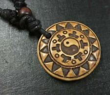 Hand-carved Symbol Round Biker Necklaces Daily 8 pcs brown necklace Imitation