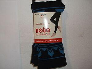 "NEW ""NO BOUNDARIES FULL LENGTH SEAMLESS BLUE ON BLACK GEOMETRIC LEGGINGS"