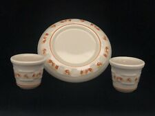 Longaberger Pottery Candy Corn Votives & Candle Holder Ceramic Dish Made In Usa