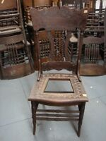 #60 - 1 Antique Pressed Back Chairs w/Rope Twist Spindles - For Restoration