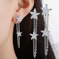 Hot Elegant 925 Sterling Silver Zircon Flower Long Stud Drop Earrings Jewelry