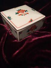 Tiffany & Co. Porcelain Box Oriental Flowers  Square Trinket Jewelry Box