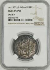 1918 AH1337//8 India Rupee Hyderbad MS63 NGC 942961-4