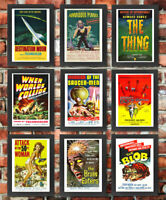 Vintage FRAMED 50's 40's Sci-Fi Space B Movie Monster Film Posters A3 A4