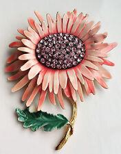 VINTAGE SIGNED BSK LARGE PINK ENAMELED RHINESTONE FLOWER GOLD-TONE BROOCH / PIN