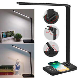 LED Reading Lights Table USB Rechargeable Bedside Wireless Phone Charger Lamps