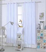 WHITE Glitter Sparkly Glitz Diamante Eyelet Ring Top Voile Curtain Panel