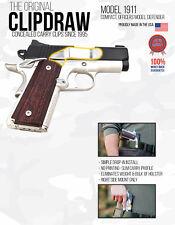 Clipdraw Belt Clip 1911 Compact Officer Pistol IWB Black Clip Holster Right