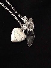 "Cinderella Glass Slipper & Locket necklace 24"" silver plated chain"