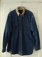 Woolrich Mens XL Blue Dark Denim Jean Button Down Elbow Patch Long Sleeve Shirt
