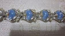 VINTAGE BLUE PEARL SILVERTONE CORO BRACELET