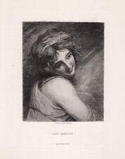 "Alluring 1800s George ROMNEY Antique Etching ""Lady Hamilton Emma"" SIGNED COA"