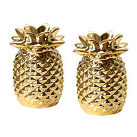 2x Pineapple Shape Statue Display Centerpiece Home Decor Ornament Gift